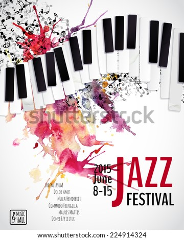 Jazz music festival, poster background template. Keyboard with music notes. Layers (background, texture, keyboard, text). Vector design.
