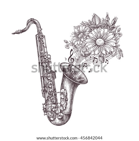 Jazz music. Hand-drawn sketch a saxophone, sax and flowers. Vector illustration
