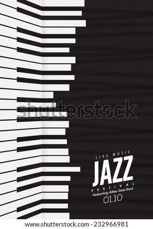 Jazz music, poster background template. Piano keyboard illustration. Music Website background, festival event flyer design.