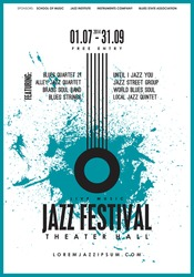 Jazz music, poster background template. Vector design.
