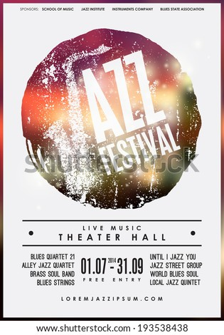 Jazz music, poster background template. Vector graphic design.