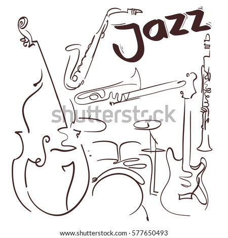 jazz musical instruments hand drawn lines composition. vector illustration
