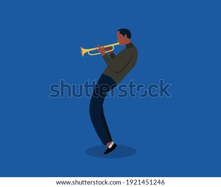 Jazz musician playing trumpet instrument. Jazz music, jazz singer, concert concept. Trumpet player on isolated background. Modern vector illustration in cartoon flat style. Сток-фото ©