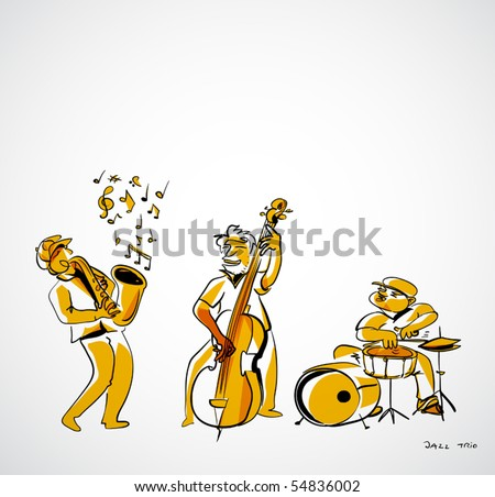 jazz musicians illustration - jazz trio
