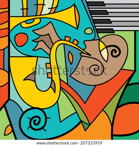 Jazz Poster Saxophone Player Piano Music Instruments Vector Art