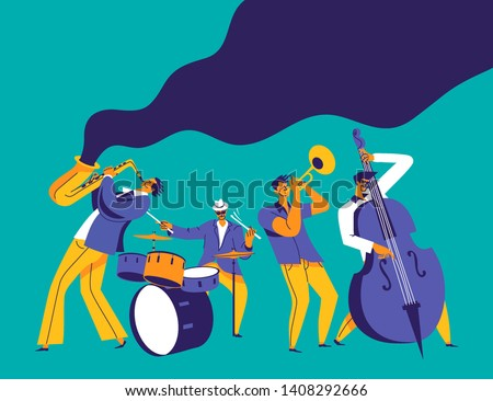 Jazz quartet. Funky musicians with saxophone, trumpet, drums and bass. Modern flat colors illustration. Photo stock ©