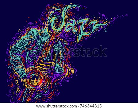 Jazz saxophone player jazz musician saxophonist abstract line style vector illustration festival poster