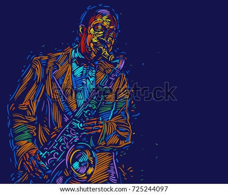 Jazz saxophone player. vector illustration for jazz poster.