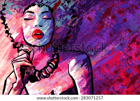 jazz singer with microphone on