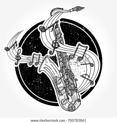 Jazz tattoo and t-shirt design. Saxophone and music notes. Notes take off from a saxophone, musical art. Sax and notes tattoo