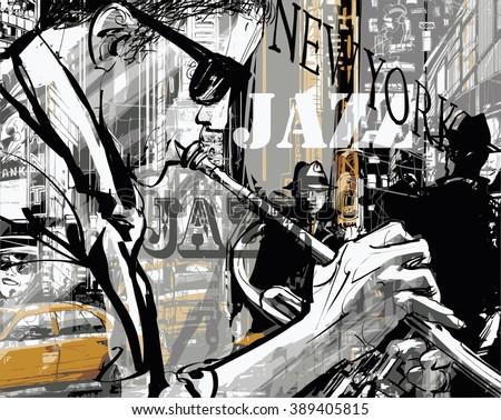 jazz trumpet player in a street