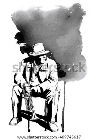 jazz trumpet player   vector
