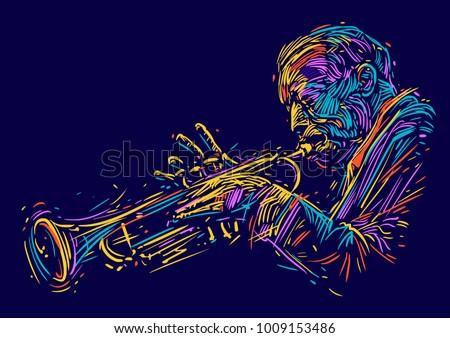 jazz trumpet player. vector...