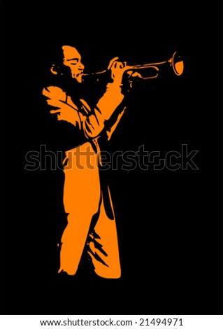 Jazz trumpeter, silhouette in black and orange