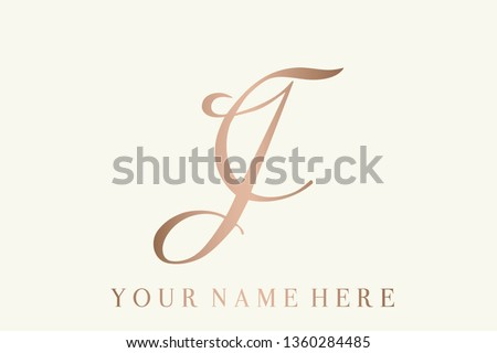 JC calligraphic monogram.Typographic initials logo with uppercase letter J and letter C intertwined.Lettering icon in rose gold metallic color.Elegant script, signature, wedding and boutique style.