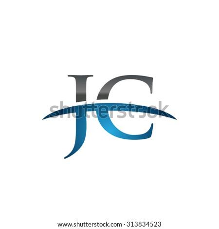 jc initial company blue swoosh