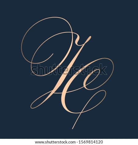 JC monogram logo.Typographic icon.Calligraphic lettering sign.Alphabet initials isolated on dark background.Uppercase decorative letter j and letter c.Elegant,beauty,luxury,wedding style characters.