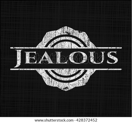 Jealous chalkboard emblem written on a blackboard