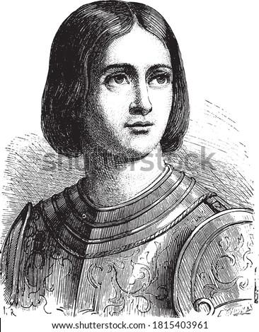 Jeanne D'Arc, Vintage engraving. From Popular France, 1869. Stock fotó ©
