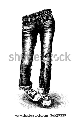 jeans and sneakers. vector illustration - stock vector