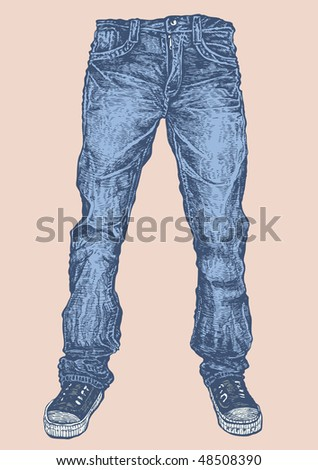 jeans and sneakers. vector illustration