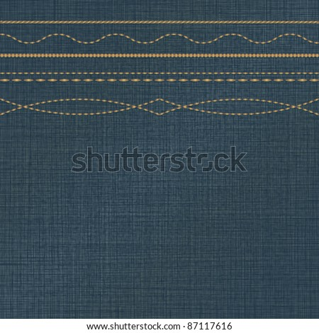 Jeans background with decorative stitches