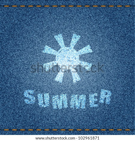 "Jeans banner with sun and ""summer"" text. Vector eps10 illustration."