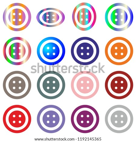 jeans clothes button set round multicolor isolated on white vector design element #1192145365