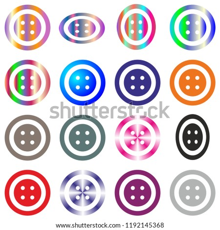 jeans clothes button set round multicolor isolated on white vector design element #1192145368