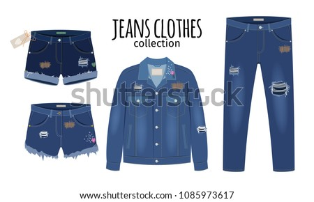 Jeans clothing. Trendy fashion ripped denim casual clothes vector illustration, jeans outfit garments models isolated on white background