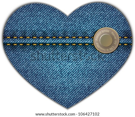 Jeans heart with button. Vector icon