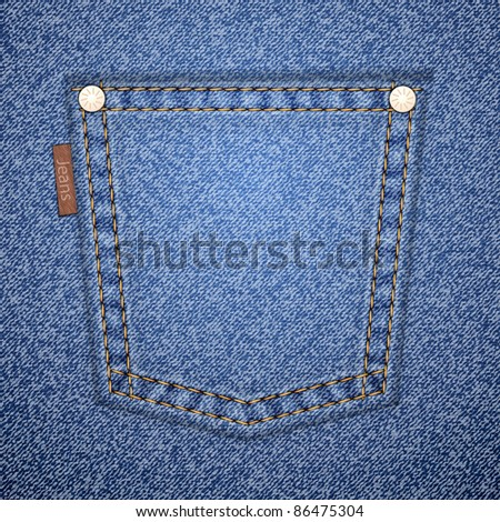 Jeans pocket on denim pattern. Vector illustration. It is easy to move the pocket.