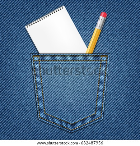 Jeans pocket with pencil and notebook. Template. Education Concept. Pencil for drawing.