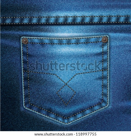 Jeans realistic drawing on a colored background
