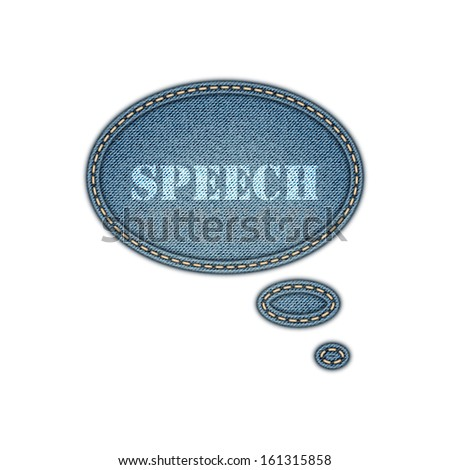 Jeans texture background. Speech bubble stickers. Vector eps10