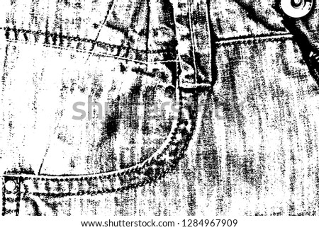 Jeans with seams and pocket vector illustration. Jeans texture black and white background. Scalable denim cloth surface. Jeans thread woven backdrop. Fashion textile grungy worn jeans closeup.