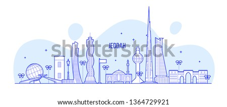 Jeddah skyline, Saudi Arabia. This illustration represents the city with its most notable buildings. Vector is fully editable, every object is holistic and movable