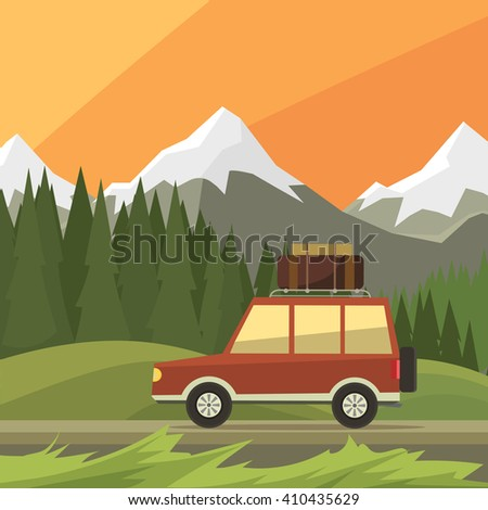 jeep rides on road  background