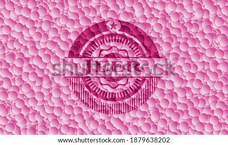 Jeer pink badge with bubbles background. Vector Illustration. Detailed.  Stock photo ©