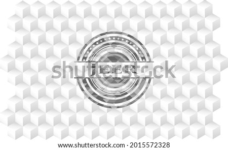 Jeer realistic grey emblem with geometric cube white background.  Stock photo ©