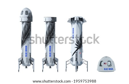 Jeff Bezos spacecraft, BLUE ORIGIN, A set of modern spacecraft. Vector illustration Stock photo ©