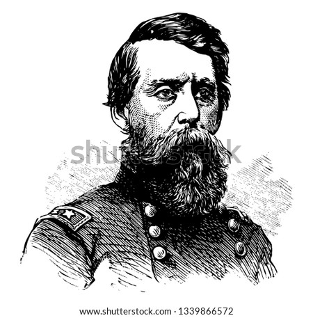 Jefferson C. Davis 1828 to 1879 he was a officer of the United States Army during the American civil war and first commander of the department of Alaska vintage line drawing or engraving illustration