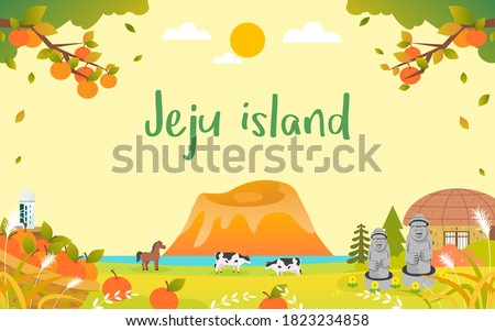 JeJu Island in Autumn Background vector illustration. Beautiful fall season landscape. harvesting oranges