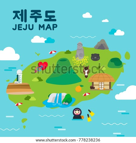 Jeju island Travel map vector illustration, Attractions in flat design. Korean character is \