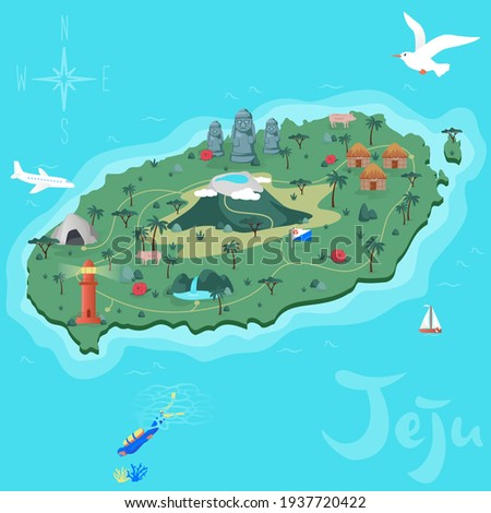 Jeju island tropical paradise vector korea