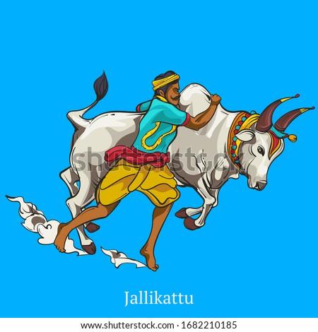Jellikattu flat colour vector illustration Zdjęcia stock ©