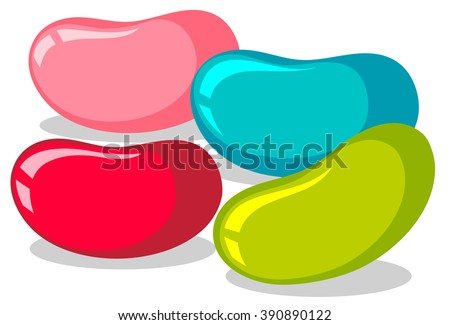 jelly beans in four colors