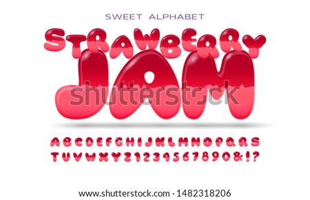 Jelly colorful alphabets. Tasty bright alphabet. Vector illustration.