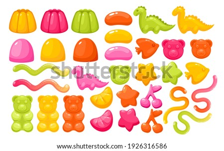 Jelly gum candy sweets vector illustration set. Realistic creative chewy candy for kids collection, funny gummy bear fish and dragon, lemon and orange slice, taste cherry berry isolated on white