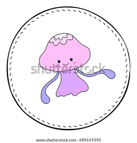 Jellyfish isolated on white background. Girl jellyfish cartoon vector illustration. Underwater princess handdrawn patch. Cartoon fish drawing. Nursery clip art with tropical sea animal. Marine fauna